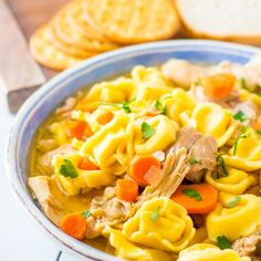 Chicken Tortellini Soup is cooked in the crockpot and is hearty and filling. Chicken thigh meat is tender paired with cheesy tortellini pasta and vegetables. This soup is theperfect coldweathersoup to warm you up!// acedarspoon.com #soup #chicken #tortellini #pasta #chickenthighs Chicken Tortellini Soup, Cheese Tortellini, Chicken Soup Recipes, Slow Cooker Roast Beef, Slow Cooker Soup, Slow Cooker Recipes, Healthy Dinner Options, Crock Pot Soup, Bowl Of Soup