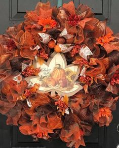 Lovely Orange And Brown Thanksgiving Day Wreath
