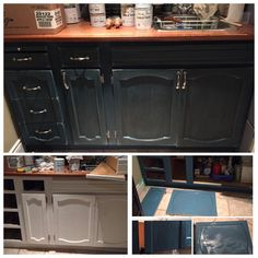 Mudroom/Kitchen cabinet makeover painted in Aubusson blue with clear and dark wax.