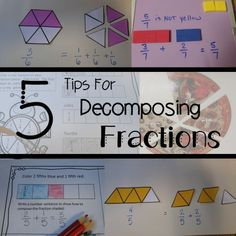 Great ideas for decomposing fractions! Hands on and pictorial activities that promote higher level thinking and problem solving skills in the context of fractions. Can be used for math workshop, enrichment, centers and small groups. 4th Grade Fractions, Teaching Fractions, Fourth Grade Math, Dividing Fractions, Multiplying Fractions, Equivalent Fractions, Multiplication, 4th Grade Activities, Fraction Activities
