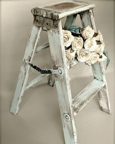 French Country Photography, Fine Art, Vintage Step Stool, Old Ladder, Shabby… Cottage Shabby Chic, Cocina Shabby Chic, Shabby Chic Mode, Casas Shabby Chic, Shabby Chic Vintage, Style Shabby Chic, Muebles Shabby Chic, Shabby Chic Bedrooms, Shabby Chic Furniture