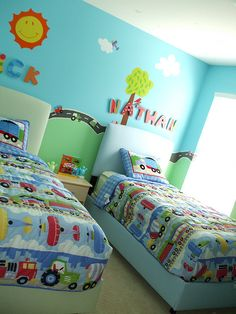Tanner already has the bedding, and I had the same paint idea, would LOVE to do this for his room!