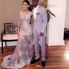 Silver Mermaid Illusion Lace Prom Dresses V-Neck Sexy See Through Halter Evening Dresses Backless Important Party Gowns Prom Dresses 2017 Party Dresses Aribic Evening Dresses Online with $142.86/Piece on Rosemarybridaldress's Store | DHgate.com