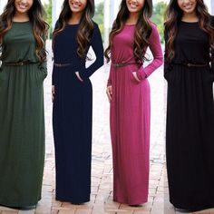 Long Sleeve Scoop Side Pockets Long Dress With Belt