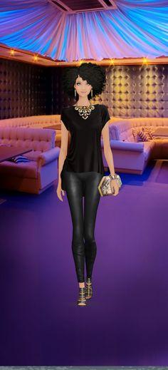 Look styled in Covet Fashion Karen London Earrings, Dannijo Necklace, Three Dots Top, La Marque Leggings, Sigerson Morrison Shoe, Be Clutch, Rebecca Minkoff Bracelet