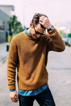Fall layering inspiration. Love the lifestyle photo #sweater #denimshirt #fallfashion #fall #mensfashion #menswear #menstyle #style #fashion