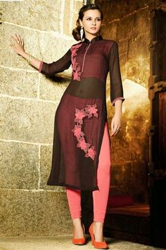 Z Fashion Trend: ELEGANT BROWN AND PINK GEORGETTE PARTY WEAR KURTI