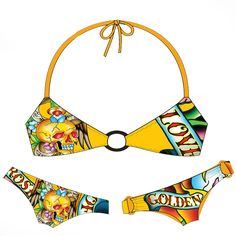 Ed Hardy Golden Womens Swimwear Set - Orange - My collection from top #designers