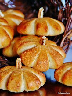 pumpkin rolls- with Rhodes frozen dinner rolls