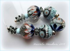 "ELA Lampwork Beads - ""Summer Evening""  #Lampwork"