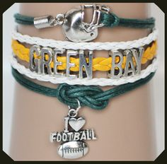 Show your Greenbay colors with this Greenbay Packers football bracelet, just in time for football season.