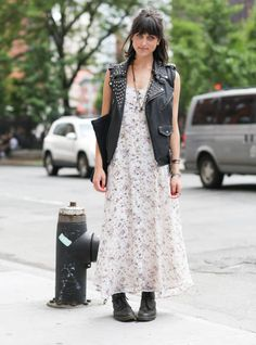 A studded leather vest adds just the right amount of edge to a floral dress.