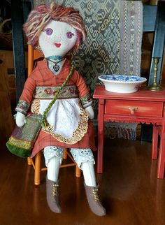 Handmade Cloth Doll, Linen, Hand Dyed and Spun Yarn Hair, Dress, Apron, Boots, Under Garments, Necklace and Cross Body Bag by GreenLeavesBoutique on Etsy