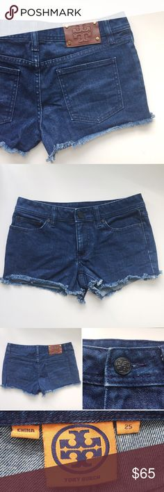 """⋆Tory Burch⋆ Frayed Denim Shorts Tory Burch denim shorts with frayed hem. Super cute! Worn once, in excellent condition.  98% cotton, 2% spandex. Waist 14.5"""", length 10"""" measured flat. Retails for $198 + tax. Size 25.   ⋆ No trade, no lowest  ⋆ Welcome Offers, Bundles, and Questions ⋆ Instagram: Missoh_J Tory Burch Shorts Jean Shorts"""