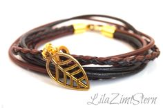 Leder-Armband Blatt von LilaZimtStern