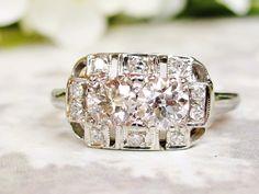 Art Deco Engagement Ring 1.12ctw European Cut Diamonds 14K White Gold Antique Engagement Ring Antique Diamond Wedding Ring With Appraisal!