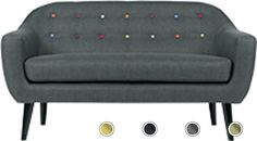 Ritchie 2 Seater Sofa, Anthracite Grey with Rainbow Buttons Mid Century Sofa, Mid Century Design, Scandi Style, 2 Seater Sofa, Bench, Delivery, Rainbow, Buttons, Balconies