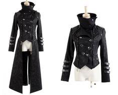 3 Piece Scorpion Long Gothic Coat Mens Large Punk Rave Visual Kei jacket