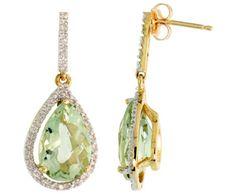 10k Gold Green Amethyst Diamond Earrings ►► http://www.gemstoneslist.com/jewelry/green-amethyst-earrings.html?i=p