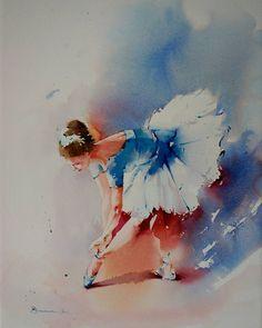 """Blue ballerina"" #watercolor #aquarelle #fineart #cansonpaper #ballet #dancer #ballerina #blancaalvarezwatercolors #art by blancaalvarezwatercolors"