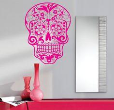 $17 Sugar Skull Wall Vinyl Decal Sticker Art Graphic Sticker Sugarskull