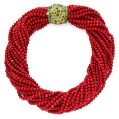 A Coral Torsade with Gold and Emerald Clasp,by Rene Boivin