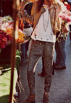 sequined slouchy pants, white tee.