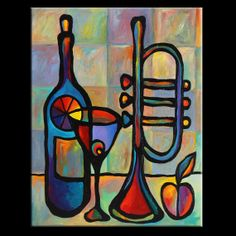 """24"""" x 30"""" Original Acrylic Painting Abstract Art Still Life Music Trumpet Wine by Mike Daneshi- Free Shipping Within U.S.A."""
