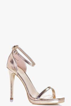 ea5df7486a1 boohoo Elizabeth Metallic Single Platform Two Part Heels Rose Gold Metallic  Shoes