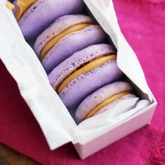 Peanut butter and jelly macarons. #peanutbutter #jelly #macarons