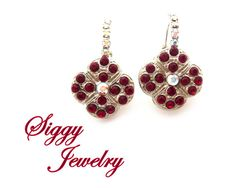 Swarovski Crystal Cluster Earrings Siam Red Clover by SiggyJewelry