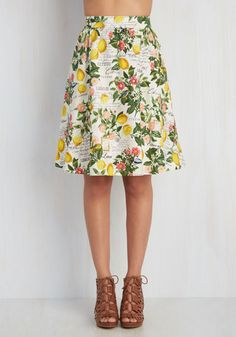 Presh Squeezed Skirt - Colorsplash, Cream, Yellow, Green, Multi, Coral, Print, Casual, Food, A-line, Spring, Variation, Mid-length, Novelty Print, Pockets, Fruits