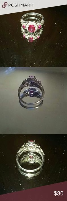 925 sterling silver lab rubys ring Stunning genuine 925 sterling silver lab made round clear rubys ring size 8 handmade Jewelry Rings