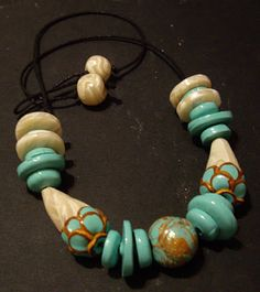 Ethnic egyptian polymer necklace by M Reyes Diaz Cairo