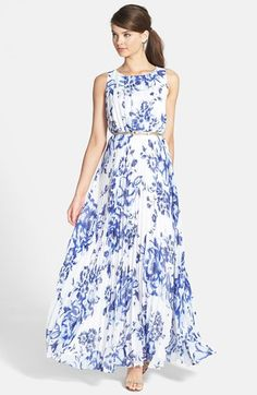 Free shipping and returns on Eliza J Print Pleat Chiffon Maxi Dress at Nordstrom.com. Symmetrical pleats front the bodice of a flowing chiffon maxi dress styled with an elegant ballet neck and covered in an oversized floral print. An inset waist releases Fortuny-inspired pleating to enhance the graceful sway of the floor-sweeping skirt.