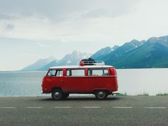 patagonia: 1970 Volkswagen Type II facing west towards the Teton's Cathedral Group