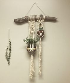 Double Macrame Plant Hanger on Driftwood by fallandFOUND on Etsy https://www.etsy.com/listing/504905042/double-macrame-plant-hanger-on-driftwood