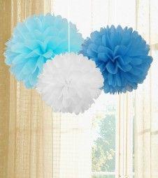 Pom Pom Set - pastellblau, hellblau, weiß - 3-teilig