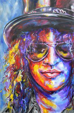Buy Slash, Acrylic painting by Christopher Figat on Artfinder. Modern Art Paintings, Paintings For Sale, Pink Floyd, Pop Art, Chemistry Art, Rock Poster, Abstract Face Art, Arte Pop, Portrait Art