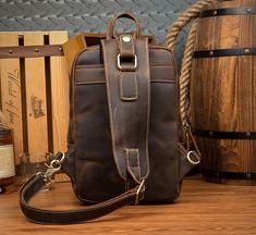 Vintage Leather Sling Backpack for Men Cow Leather, Vintage Leather, Vintage Men, Leather Bag, Fashion Updates, Sport Casual, Crossbody Shoulder Bag, Sling Backpack, Messenger Bag