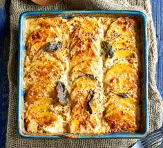Layer up squash or pumpkin with a rich, creamy sauce and bubbling melted cheese to make this indulgent side dish - indulgent for a vegetarian Sunday roast alternative.