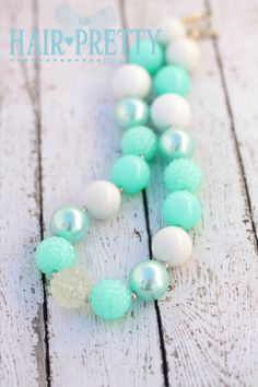Aqua and White Chunky Bead Necklace for girls