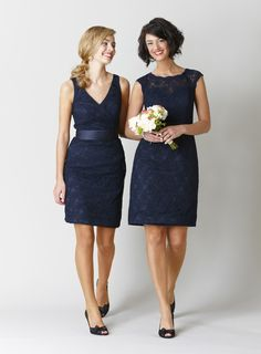 Navy lace bridesmaid dresses are a classic and elegant choice! | Favorite Navy Bridesmaids Dresses