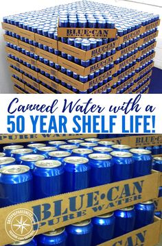 Canned Water with a 50 Year Shelf Life! Storing potable water can be one of the trickiest parts of prepping. It is crucial to have water on hand, though, if the local water supply becomes contaminated or simply accessible. Survival Supplies, Emergency Supplies, Survival Food, Homestead Survival, Camping Survival, Survival Prepping, Survival Skills, Survival Quotes, Wilderness Survival