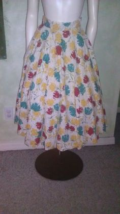 Vintage 1950s 60s Skirt Cotton Floral Print Full Sweep Pin Up Metal Zipper XS/S #Aldens