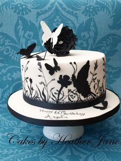 Wildflowers and butterflies hand painted cake - by CakesbyHeatherJane…