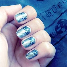 metallic- lace nail wraps via NCLA