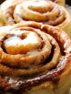 Easy Homemade Cinnamon Rolls with powdered sugar frosting.