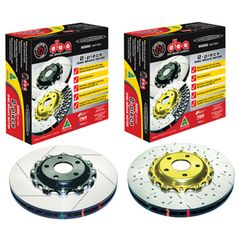 DBA 5000 Series Front Slotted & Drilled 2pc Rotors w/ Gold Hats EVO 8+9