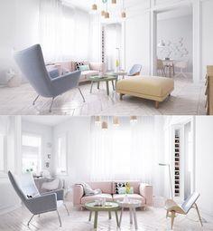 pastel pink sofa lavender armchair wood coffee tables scandinavian living room decor ideas